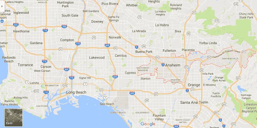 Onde Ficar Em Anaheim: Mapa