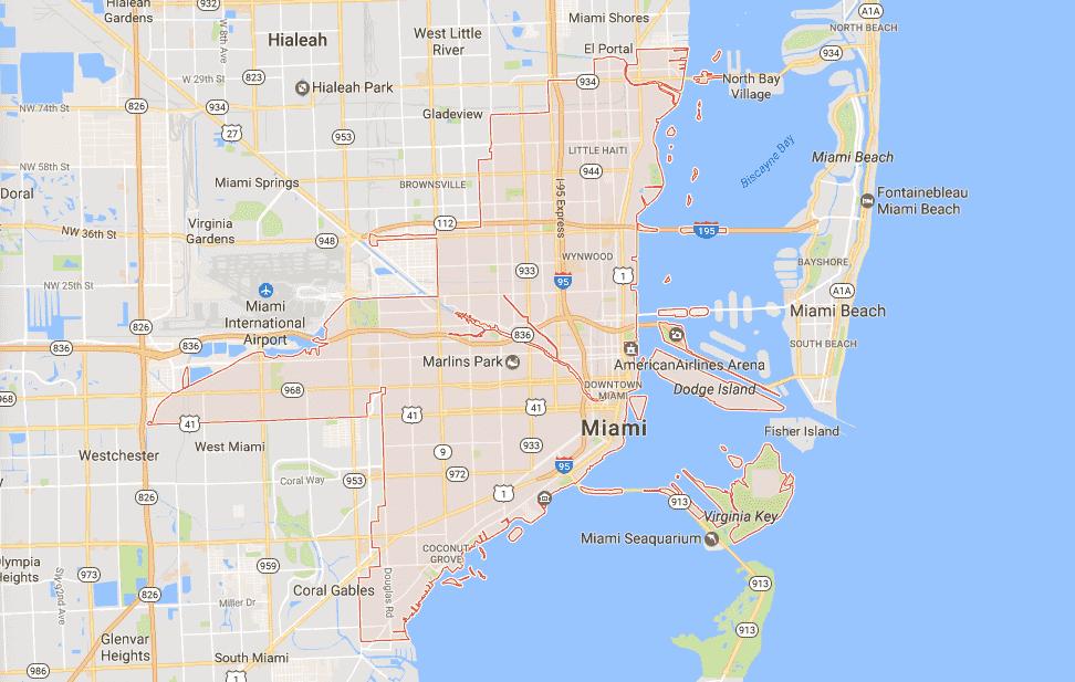 Onde Ficar Em Miami: Mapa