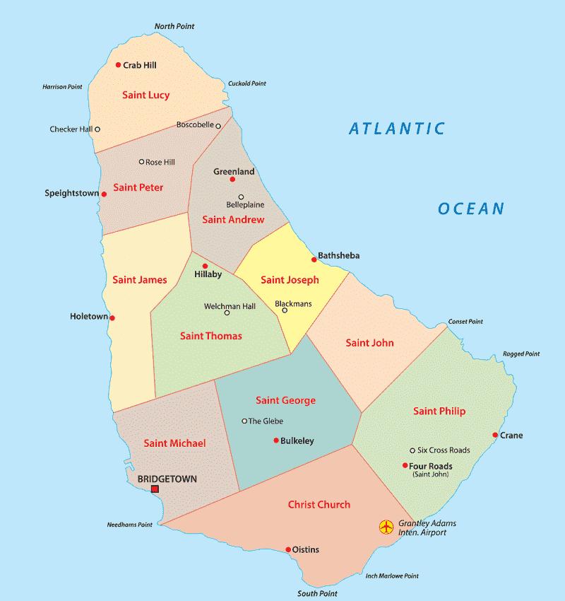 Onde Ficar em Barbados: Mapa