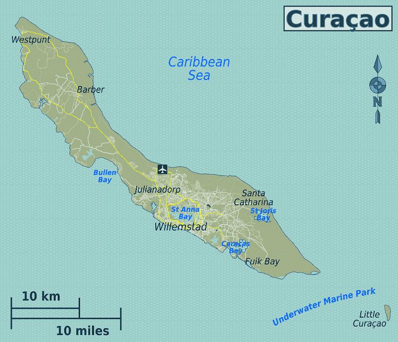 Onde Ficar em Curaçao: Mapa