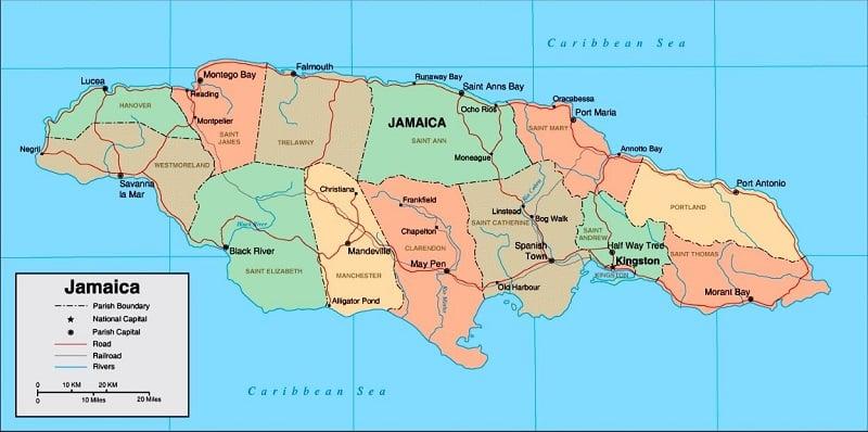 Onde Ficar na Jamaica: Mapa