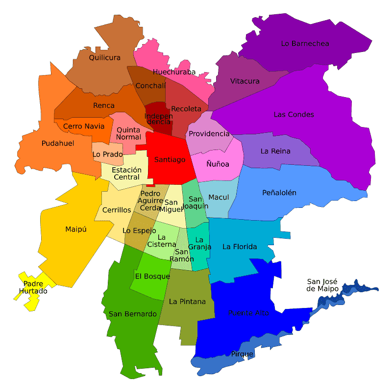 Onde Ficar em Santiago do Chile: Mapa