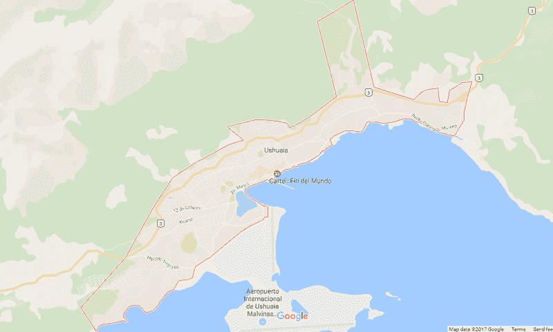 Onde Ficar em Ushuaia: Mapa