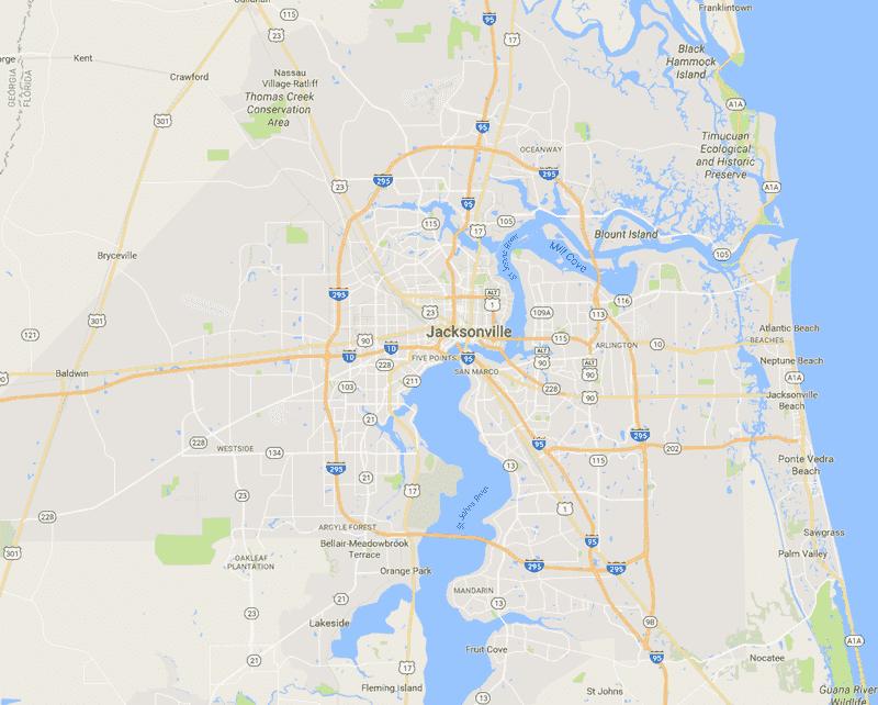 Onde Ficar Em Jacksonville: Mapa