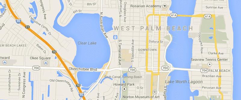 Onde Ficar Em West Palm Beach: Mapa