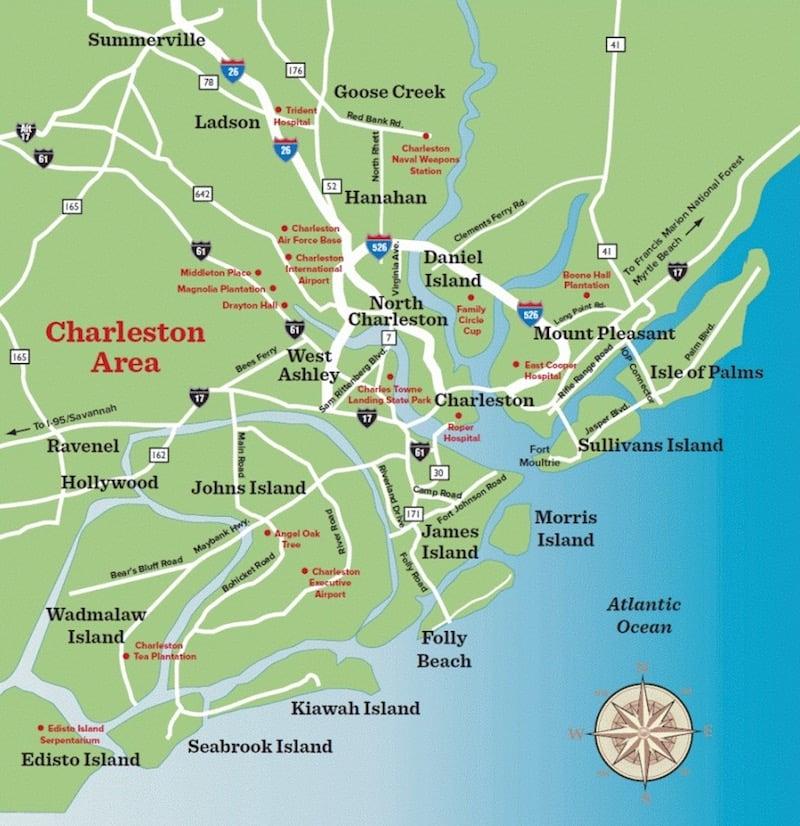 Onde Ficar Em Charleston: Mapa