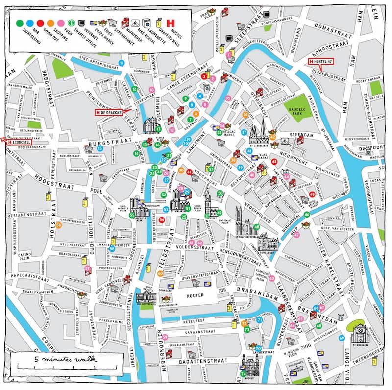 Onde Ficar em Ghent na Bélgica: Mapa