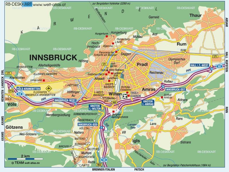 Onde Ficar Em Innsbruck Na Áustria: Mapa
