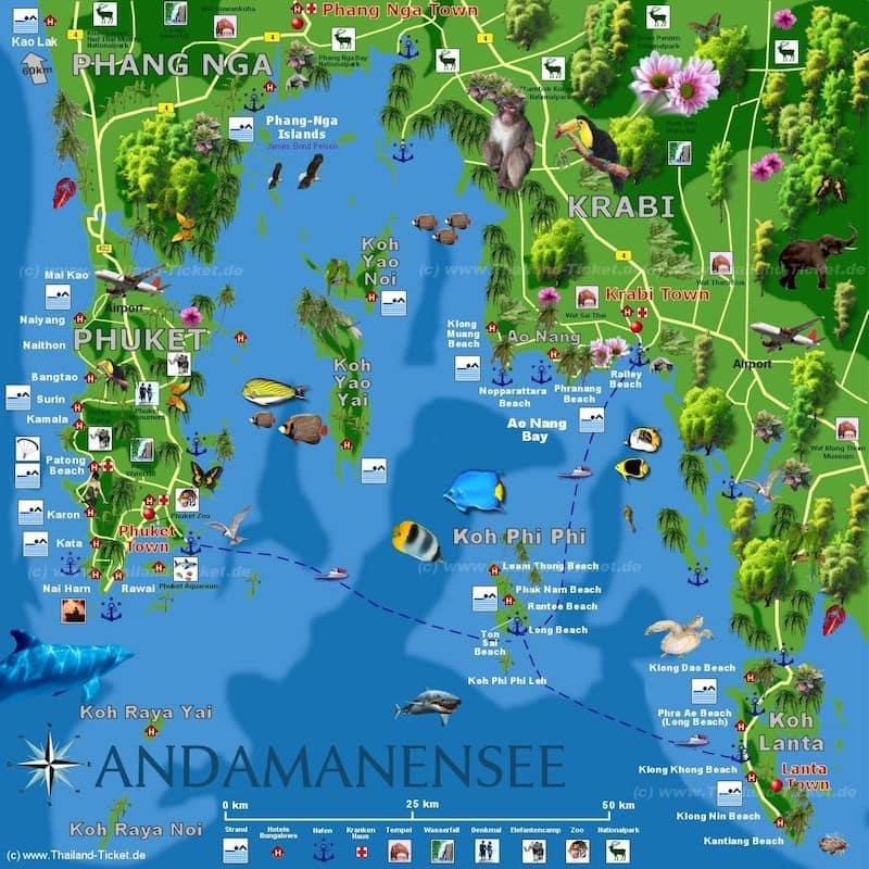 Onde Ficar Na Cidade de Krabi: Mapa