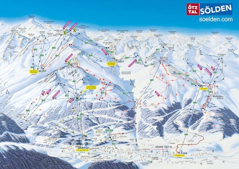 Onde Ficar em Sölden na Áustria: Mapa