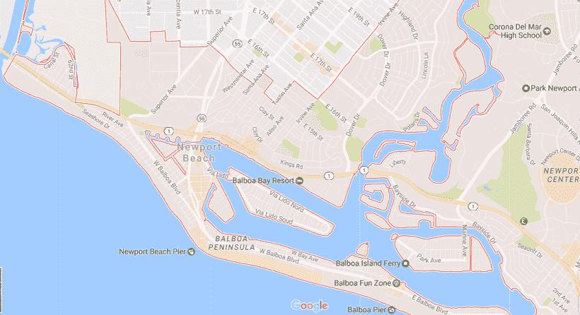 Onde Ficar Em Newport Beach: Mapa