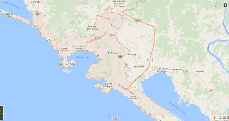 Onde Ficar em Acapulco: Mapa