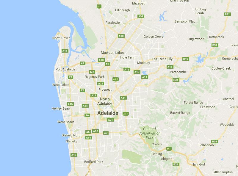 Onde Ficar em Adelaide: Mapa