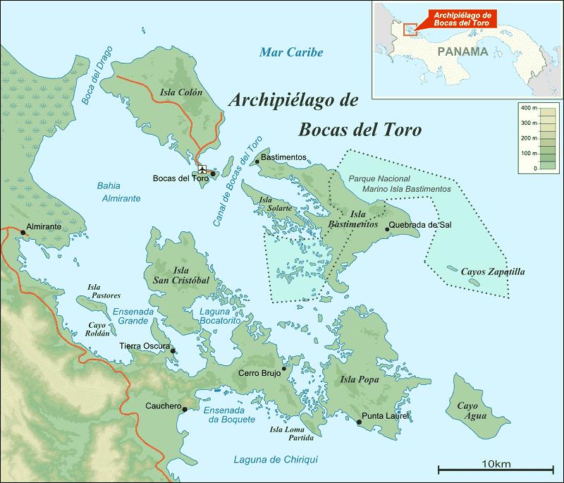 Onde Ficar em Bocas del Toro: Mapa