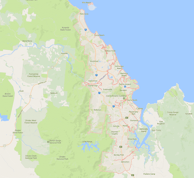 Onde Ficar em Cairns: Mapa