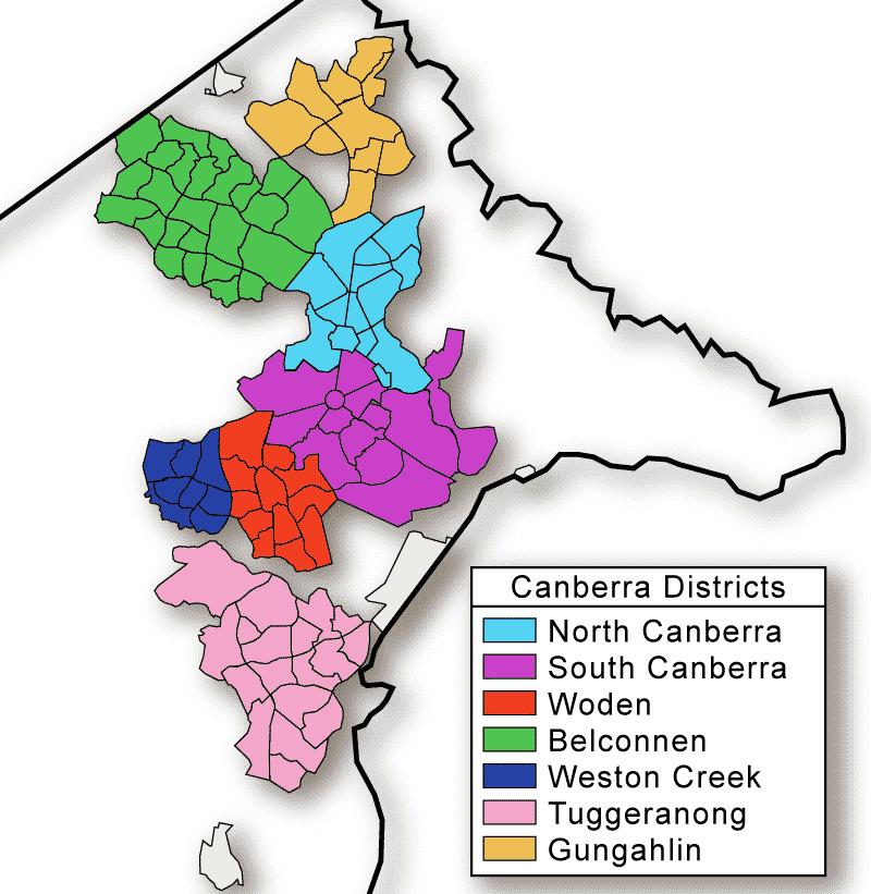 Onde Ficar em Canberra: Mapa