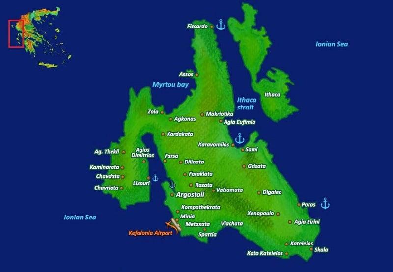 Onde Ficar em Cefalônia: Mapa