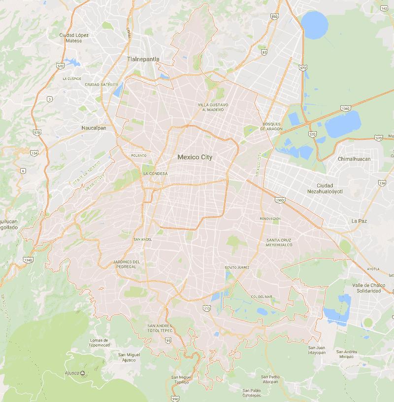 Onde Ficar na Cidade do México: Mapa