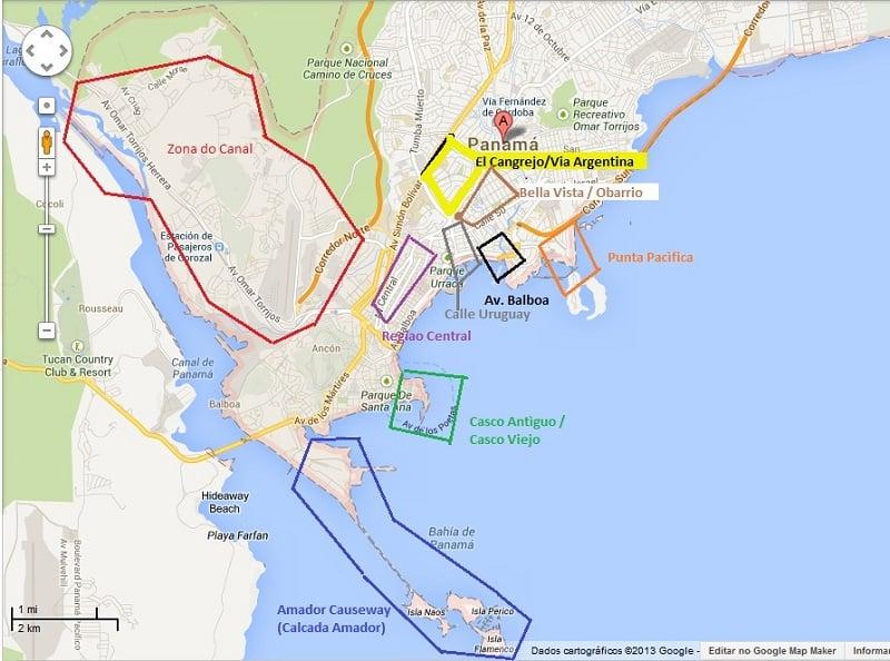 Onde Ficar Cidade do Panamá: Mapa