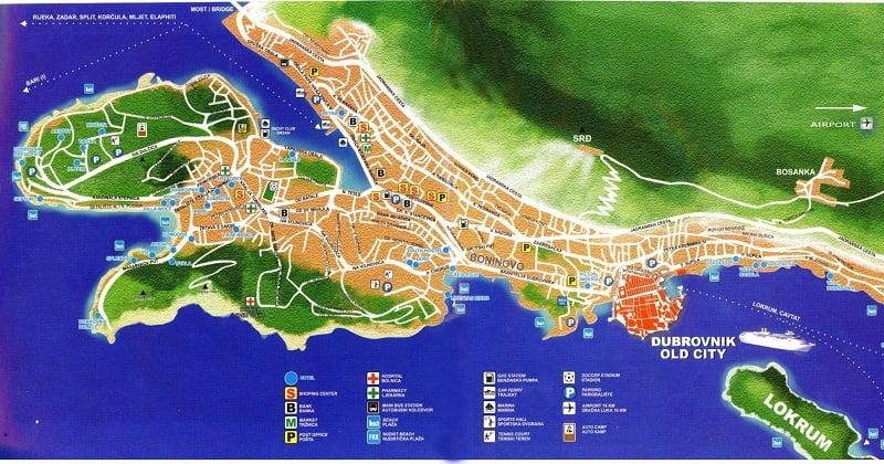 Onde Ficar em Dubrovnik: Mapa