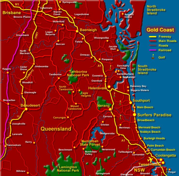 Onde Ficar em Gold Coast: Mapa