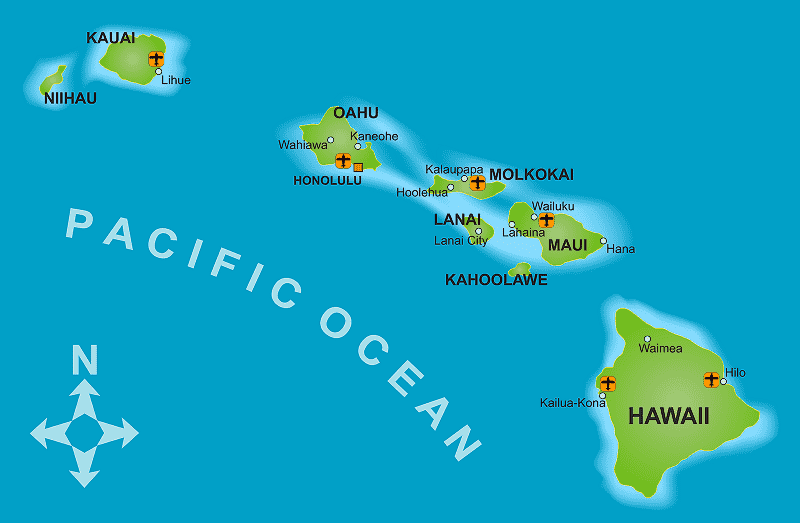 Onde Ficar no Havaí: Mapa
