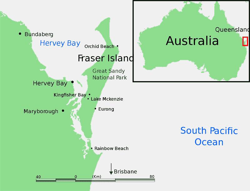 Onde Ficar na Ilha Fraser: Mapa