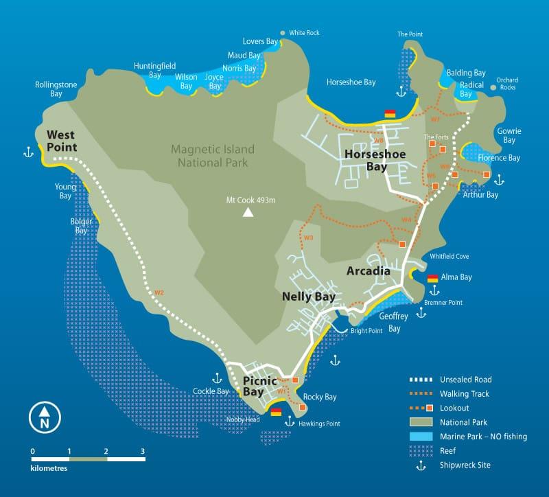Onde Ficar na Ilha Magnetic: Mapa