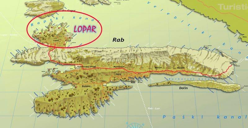 Onde Ficar na Ilha Rab: Mapa