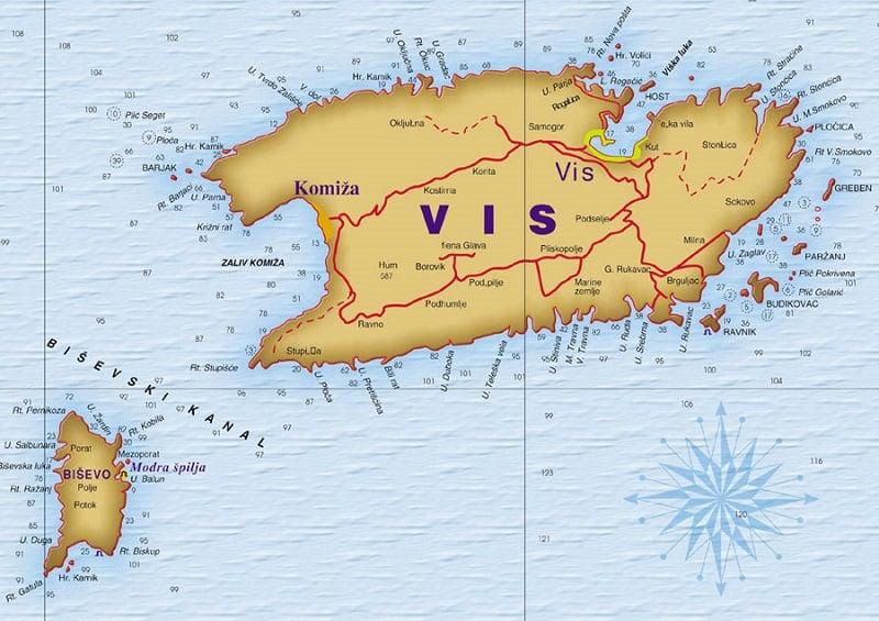 Onde Ficar na Ilha Vis: Mapa