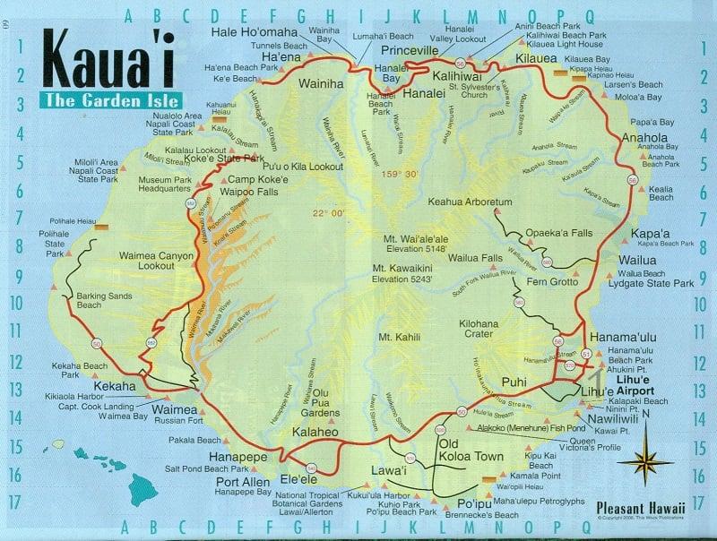Onde Ficar em Kauai: Mapa