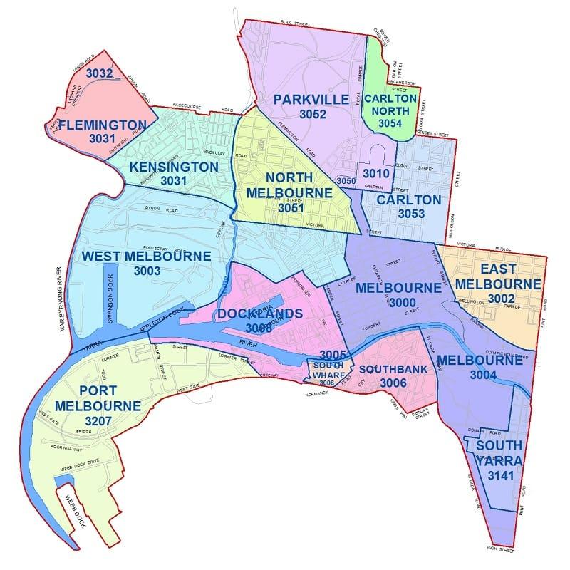 Onde Ficar em Melbourne: Mapa