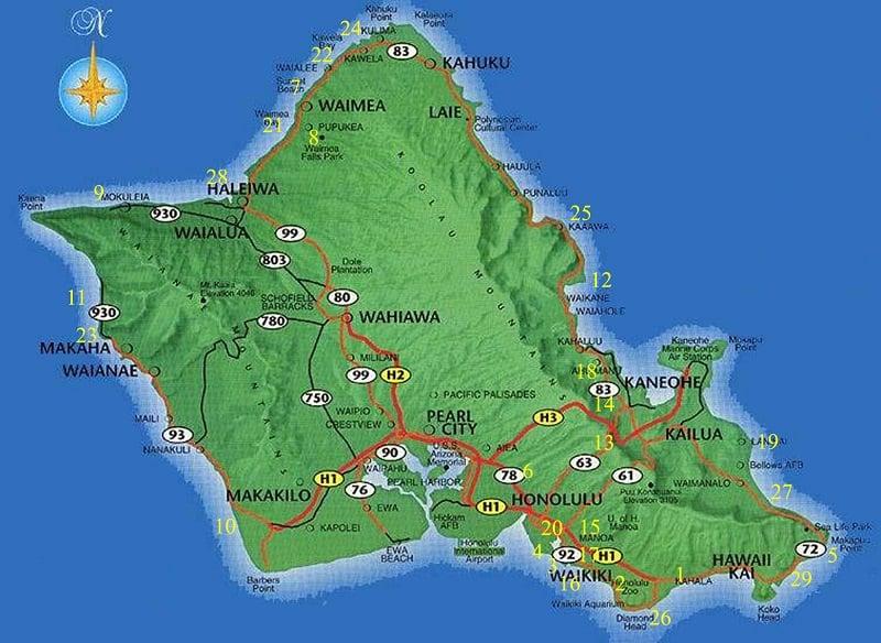 Onde Ficar em Oahu: Mapa