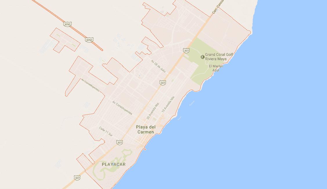 Onde Ficar em Playa del Carmen: Mapa