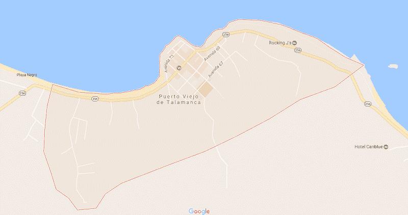 Onde Ficar em Puerto Viejo de Talamanca: Mapa