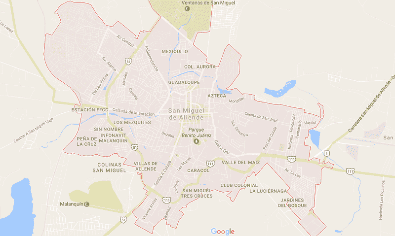 Onde Ficar em San Miguel de Allende: Mapa
