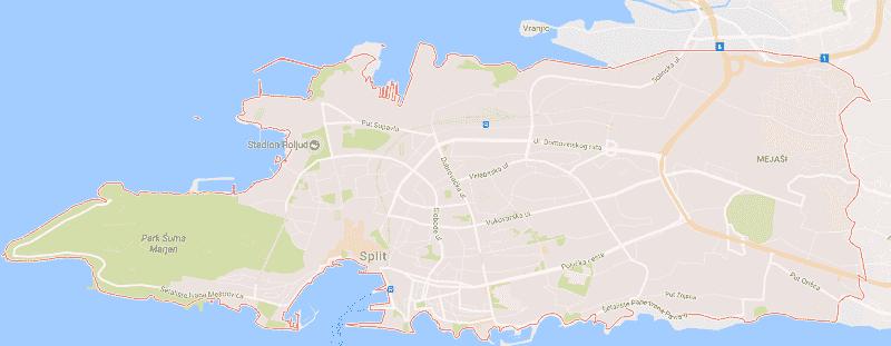 Onde Ficar em Split: Mapa