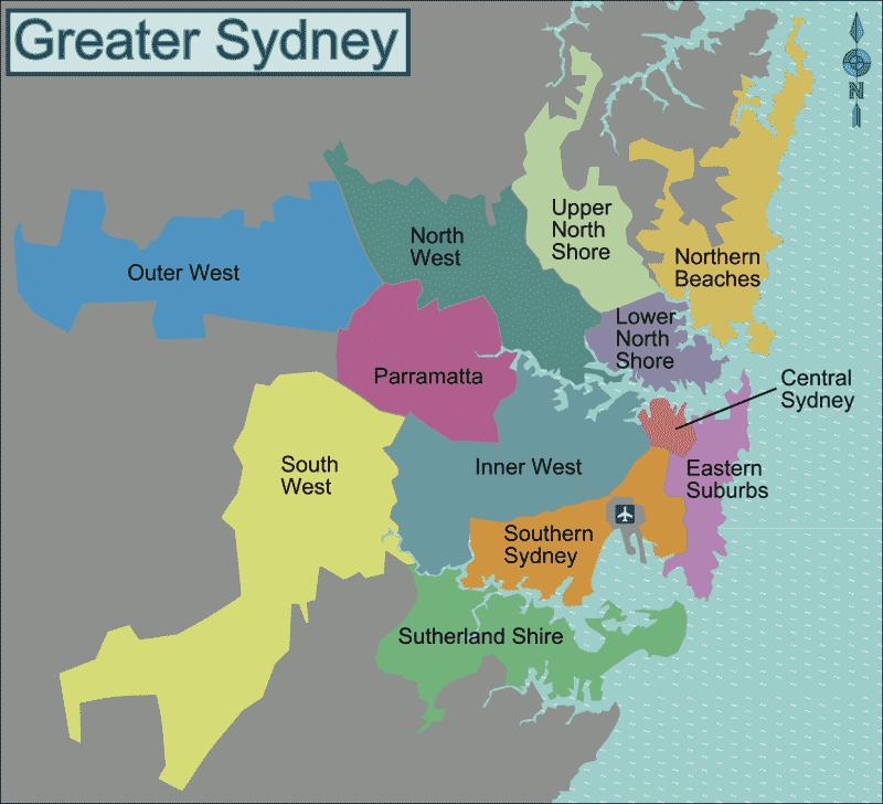 Onde Ficar em Sydney: Mapa