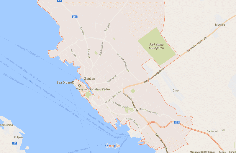Onde Ficar em Zadar: Mapa