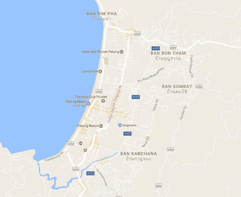 Onde Ficar Em Patong Beach: Mapa