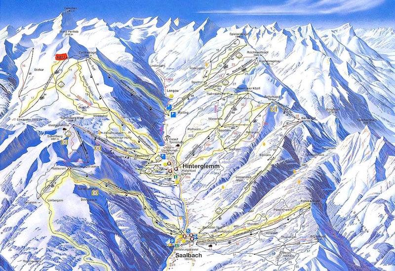 Onde Ficar em Saalbach-Hinterglemm na Áustria: Mapa