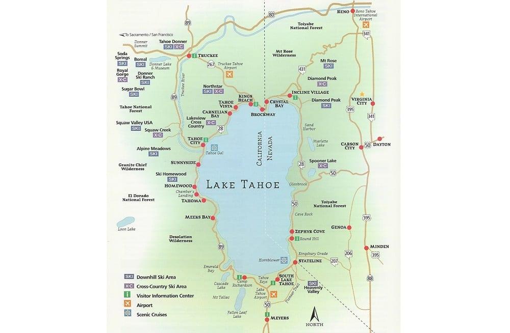 Onde Ficar Em South Lake Tahoe: Mapa