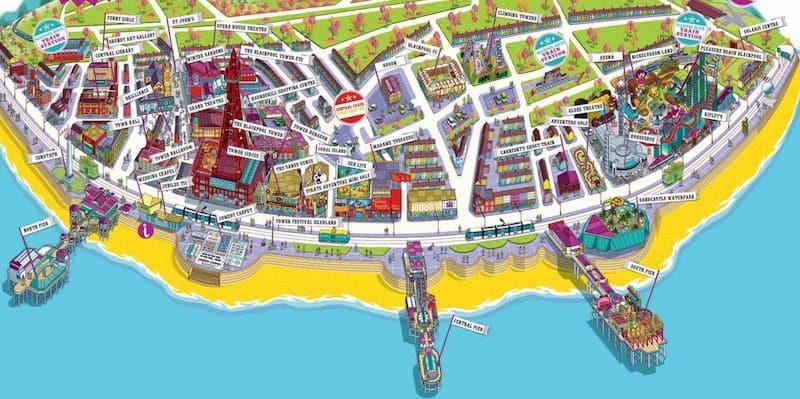 Onde Ficar em Blackpool na Inglaterra: Mapa