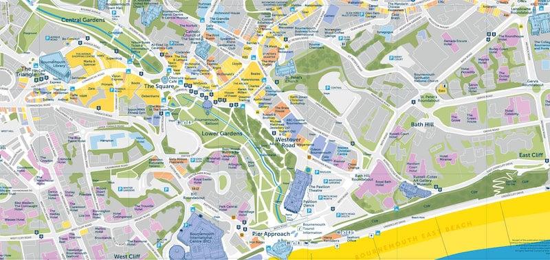 Onde Ficar em Bournemouth na Inglaterra: Mapa