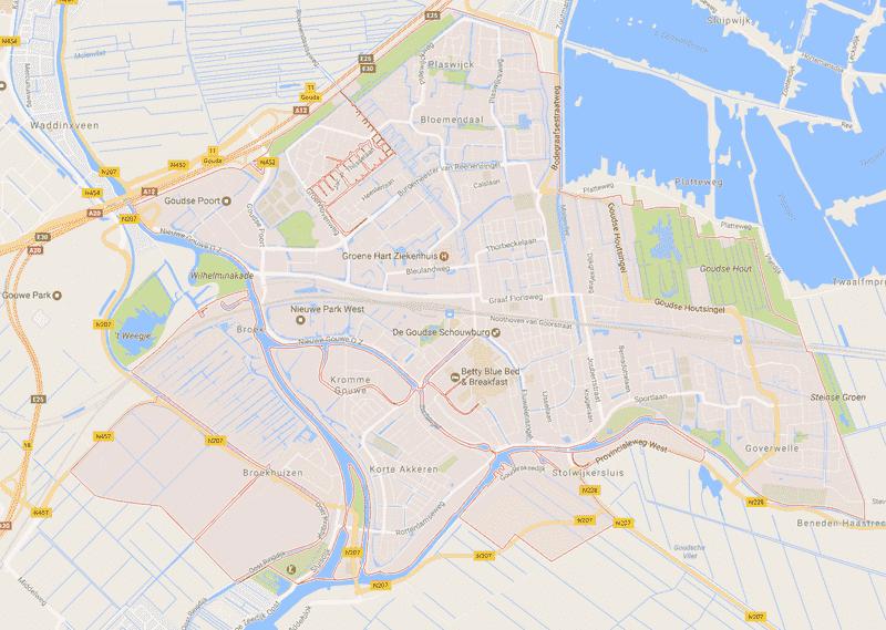 Onde Ficar em Gouda na Holanda: Mapa