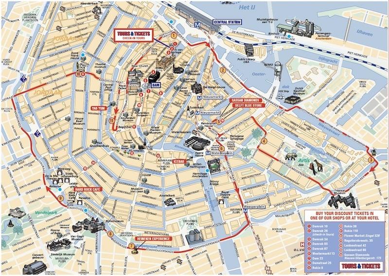 Onde Ficar em Amsterdam na Holanda: Mapa