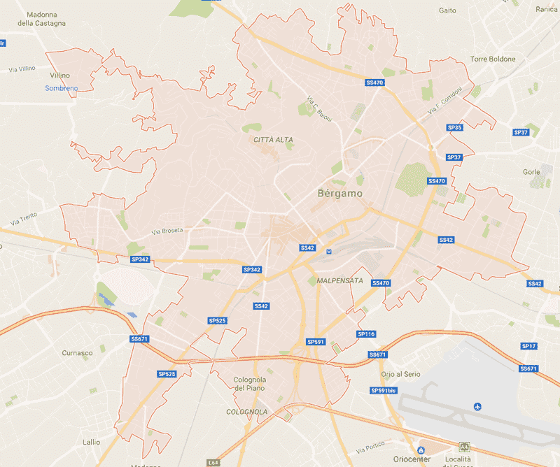 Onde Ficar em Bérgamo na Itália: Mapa