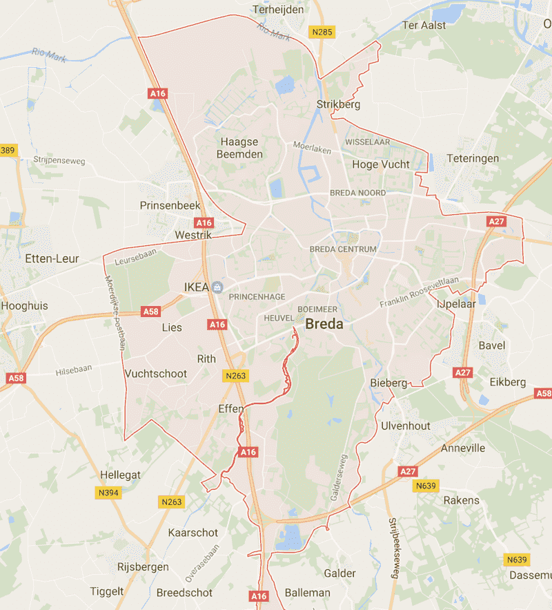 Onde Ficar em Breda na Holanda: Mapa