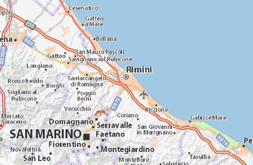 Onde Ficar em Rimini: Mapa