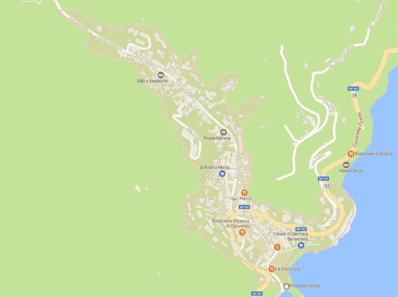 Onde Ficar em Cetara na Itália: Mapa